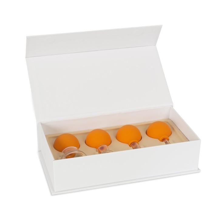 AFH Schröpfgläser Premium mit Bulk 4er Set in Box | Typ 1 - Zylinder | Orange