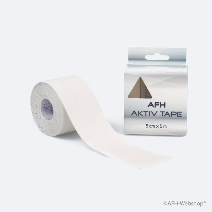 AFH Aktiv Tape | Kinesiologie Tape 5,0 cm x 5 m | weiß | MHD 02/2020