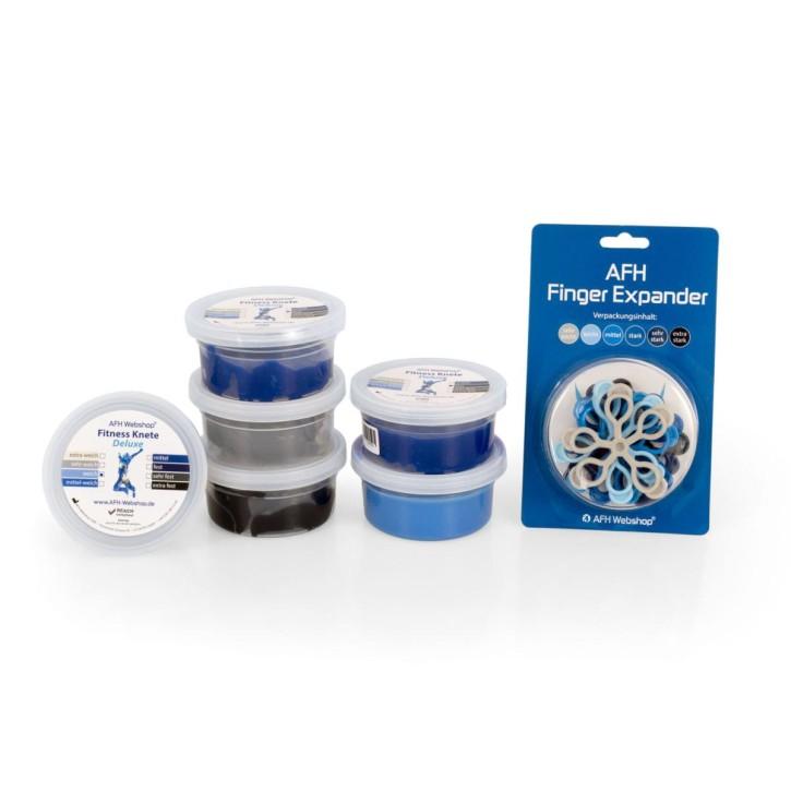AFH Finger Expander Premium + Fitness Knete Deluxe 6er Set