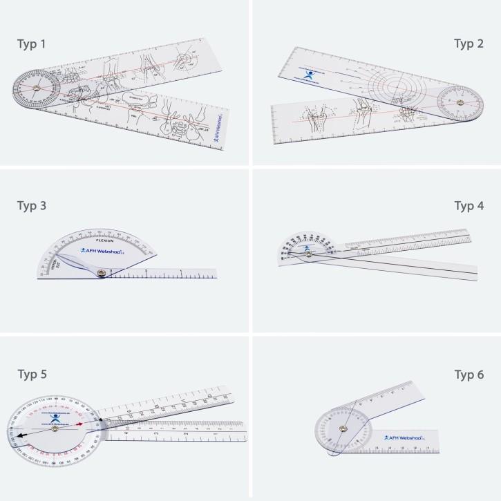 AFH Winkelmesser | Goniometer aus Kunststoff | 6er Set