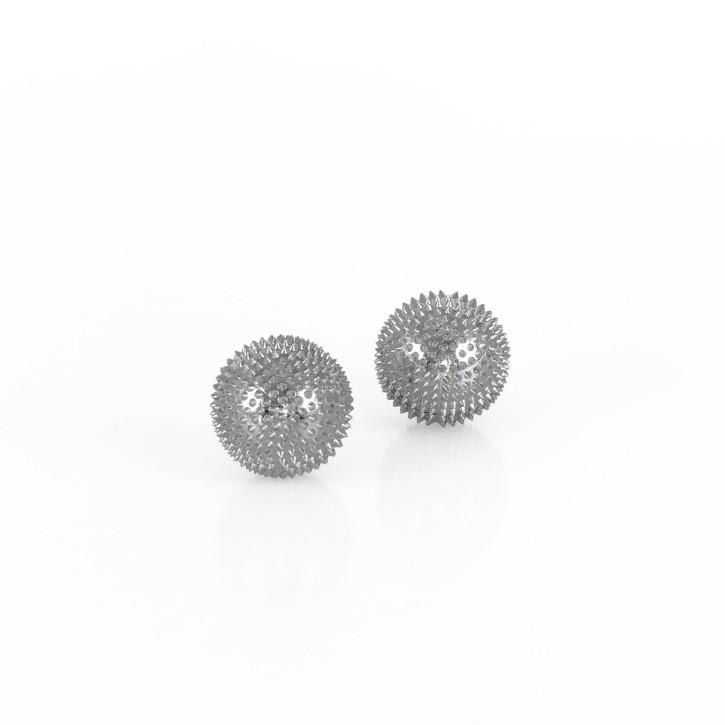 Magnet Akupunktur Massage Kugeln | 2 Stück | Ø 32 mm | silber