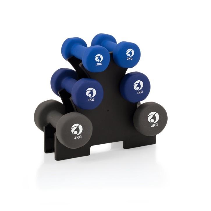 AFH Gymnastik-Hanteln | 18 kg Set mit Ablageständer | Design-Farben