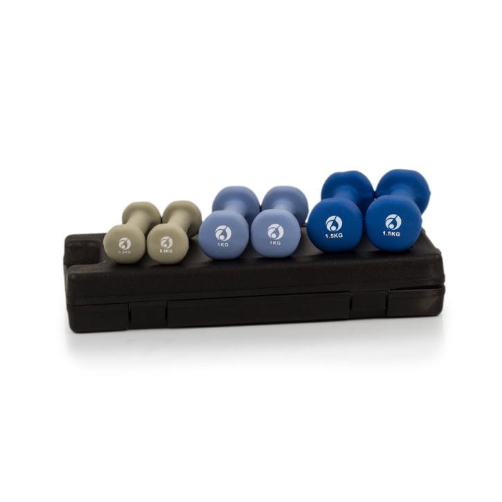 AFH Gymnastik-Hanteln | 6 kg Set im Koffer | Design-Farben