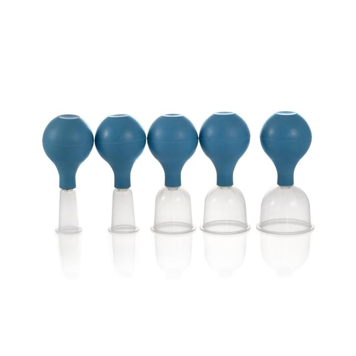 Kunststoff Schröpfgläser mit Ball | Hochwertiger PP Kunststoff | blau | 5er Set