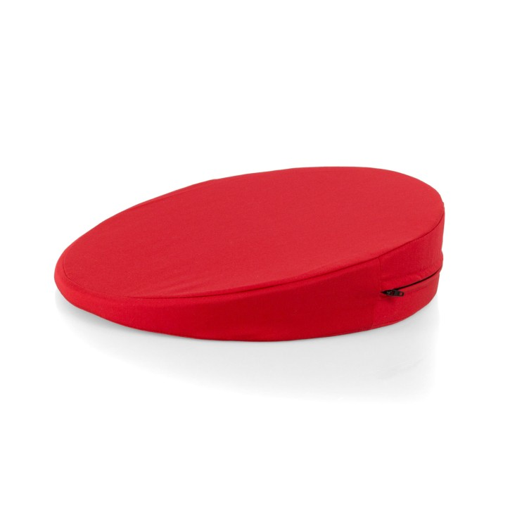 AFH Sitzkeilkissen mit Stoffbezug | Ø 34 x 1-8 cm | rot