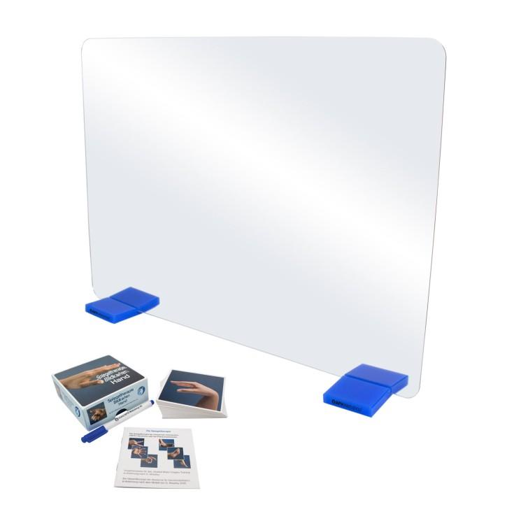 AFH Therapiespiegel Premium | groß | Standfuß: blau | Bildkarten Hand