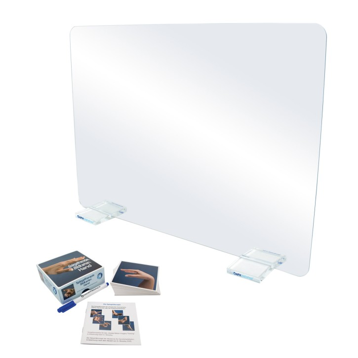 AFH Therapiespiegel Premium | groß | Standfuß: transparent | Bildkarten Hand