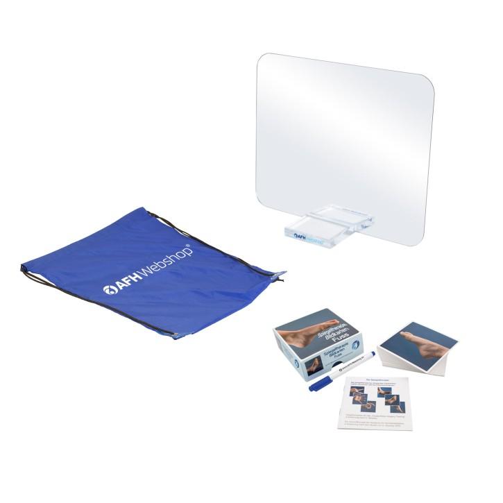 AFH Therapiespiegel Premium | klein| inkl. Tragetasche | Standfuß: transparent | Bildkarten Fuß