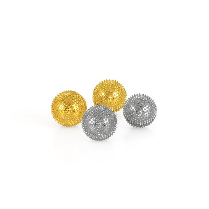 Magnet Akupunktur Massage Kugeln | 2x2er Pack | Gold + Silber | Ø 32 mm