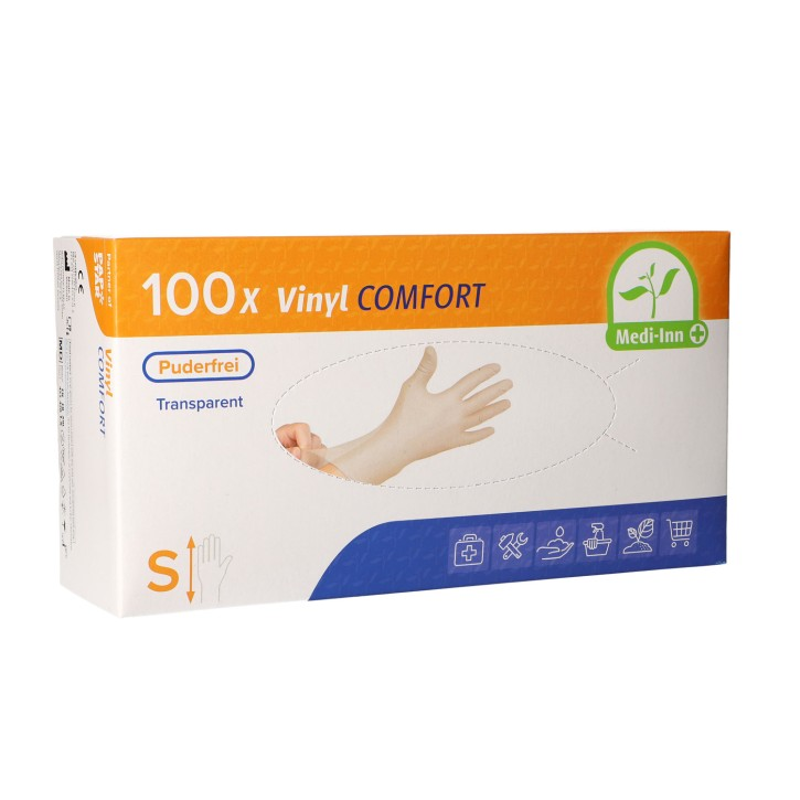 Medi-Inn® PS Handschuhe | Vinyl puderfrei Comfort | Größe: S