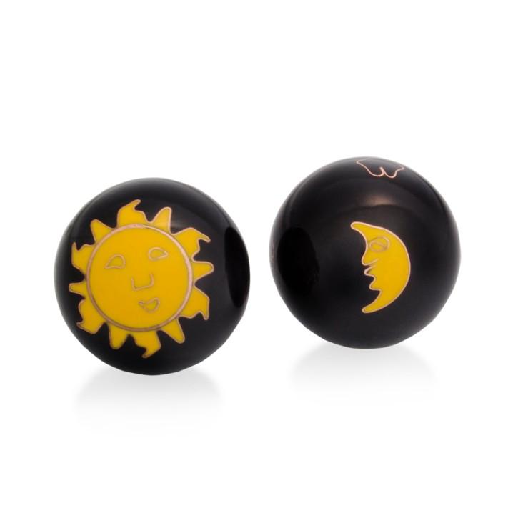 QiGong Kugeln   Sonne und Mond schwarz   Ø 40 mm