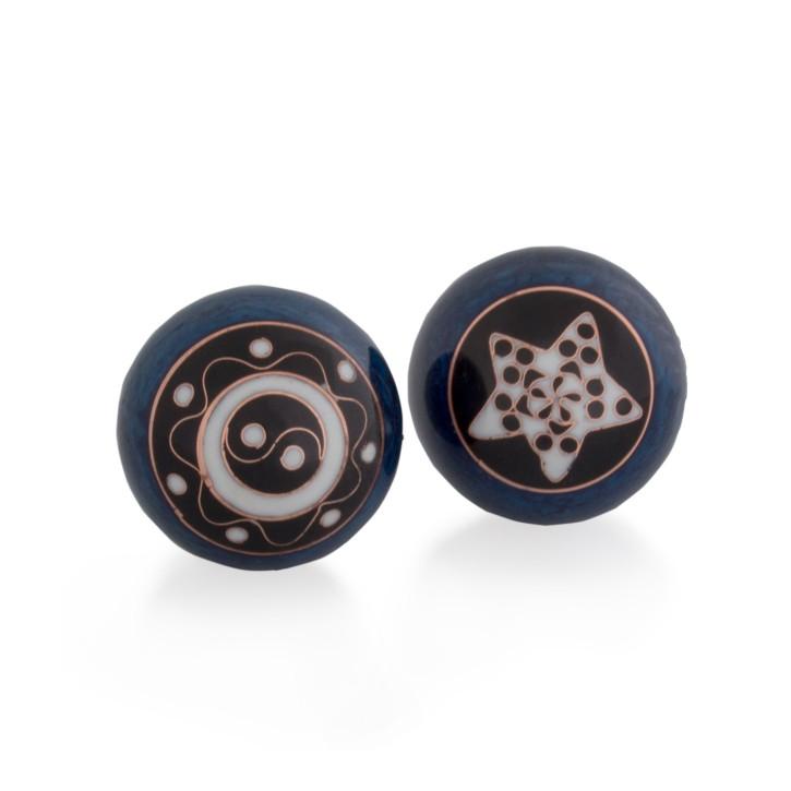 QiGong Kugeln | Yin Yang Ornament blau