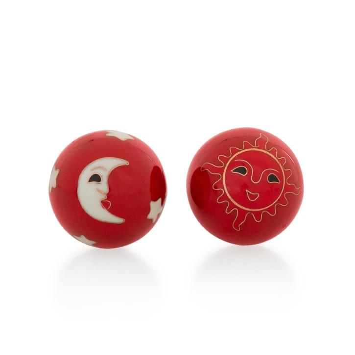 QiGong Kugeln | Sonne und Mond rot | Ø 40 mm