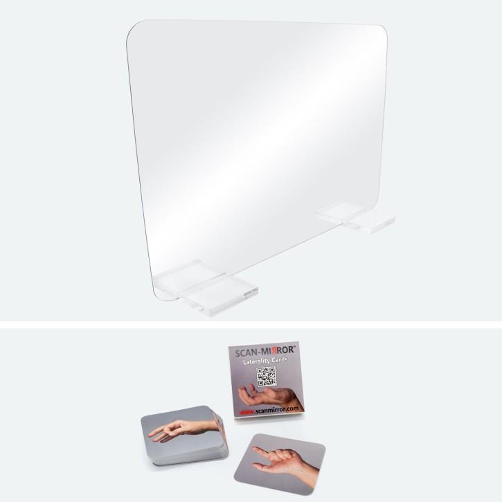 Scan-Mirror Therapiespiegel groß | Exklusiv | Standfüße: Acryl | Scan-Mirror Handkarten