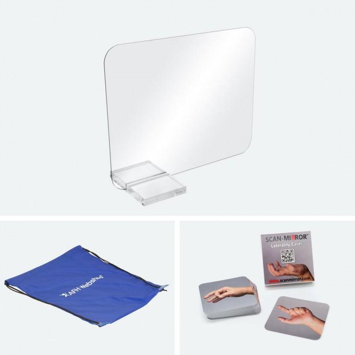 Scan-Mirror mobiler Therapiespiegel mit Tragetasche | klein | Standfuß: Acryl | Scan-Mirror Handkarten