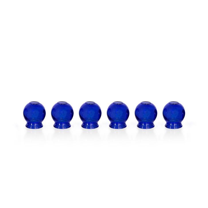 Schröpfgläser aus Glas zum Feuerschröpfen | blau | 6er Set
