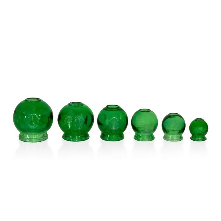Schröpfgläser aus Glas zum Feuerschröpfen | grün | 6er Set alle Größen