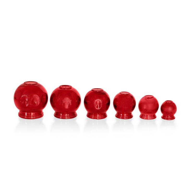 Schröpfgläser aus Glas zum Feuerschröpfen | rot | 6er Set alle Größen