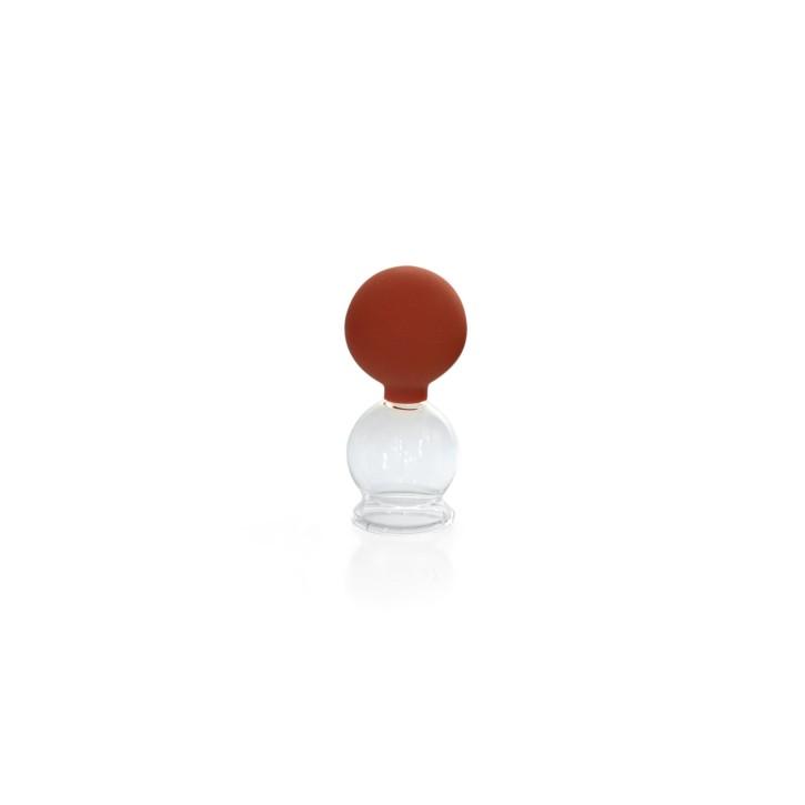 Schröpfglas mit Saugball und Olive | Qualitätsglas | Ø 3,5 cm