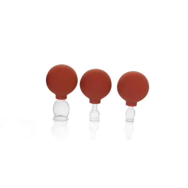 Schröpfglas mit Saugball und Olive | Qualitätsglas | 3er Set klein