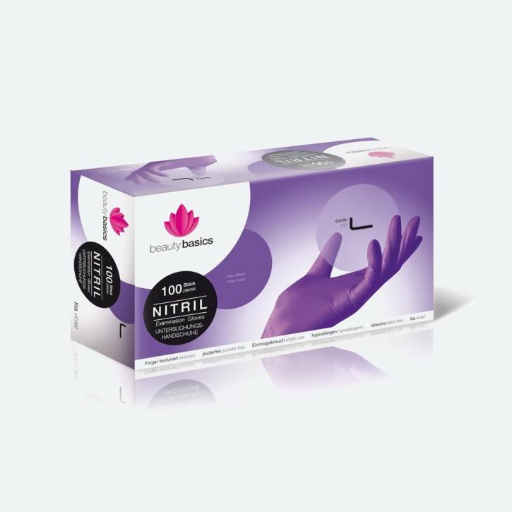 Beauty Basic Handschuh Nitril | lila | 100 Stück |  large | Abverkauf MHD erreicht